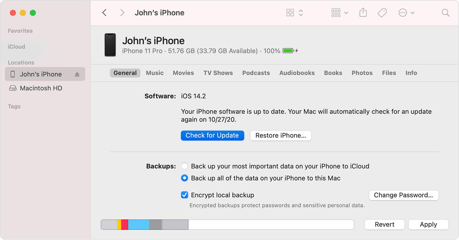 Update iPhone software via Mac