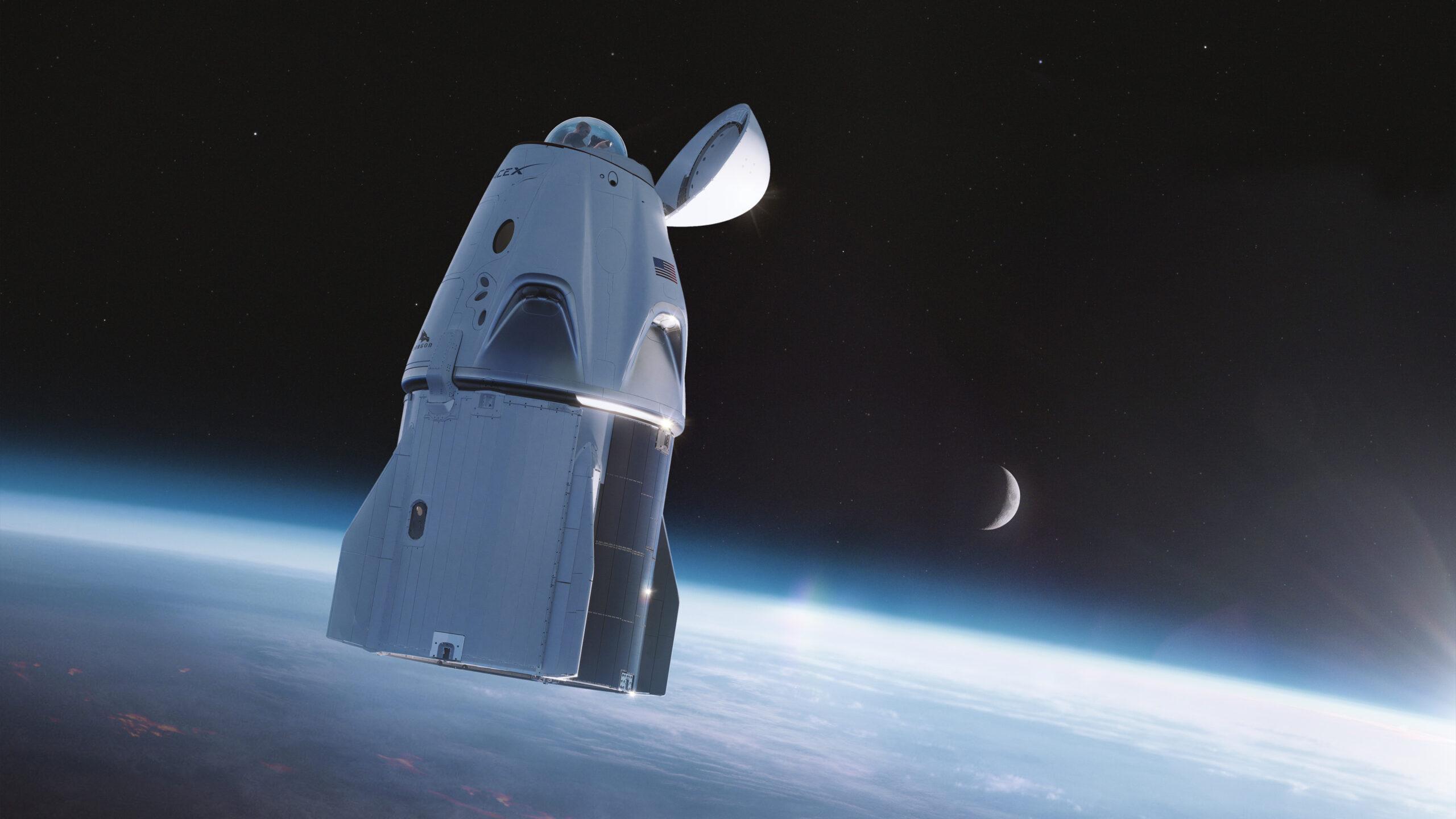Ảnh render tàu Crew Dragon của SpaceX cho sứ mệnh Inspiration4 với phần mũi tàu được lắp thêm kính quan sát. Credit: SpaceX