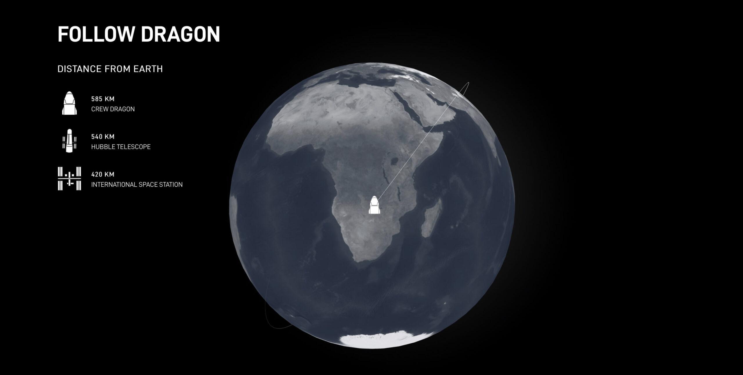 Bản đồ cập nhật vị trí hiện tại của phi thuyền Crew Dragon theo thời gian thực.