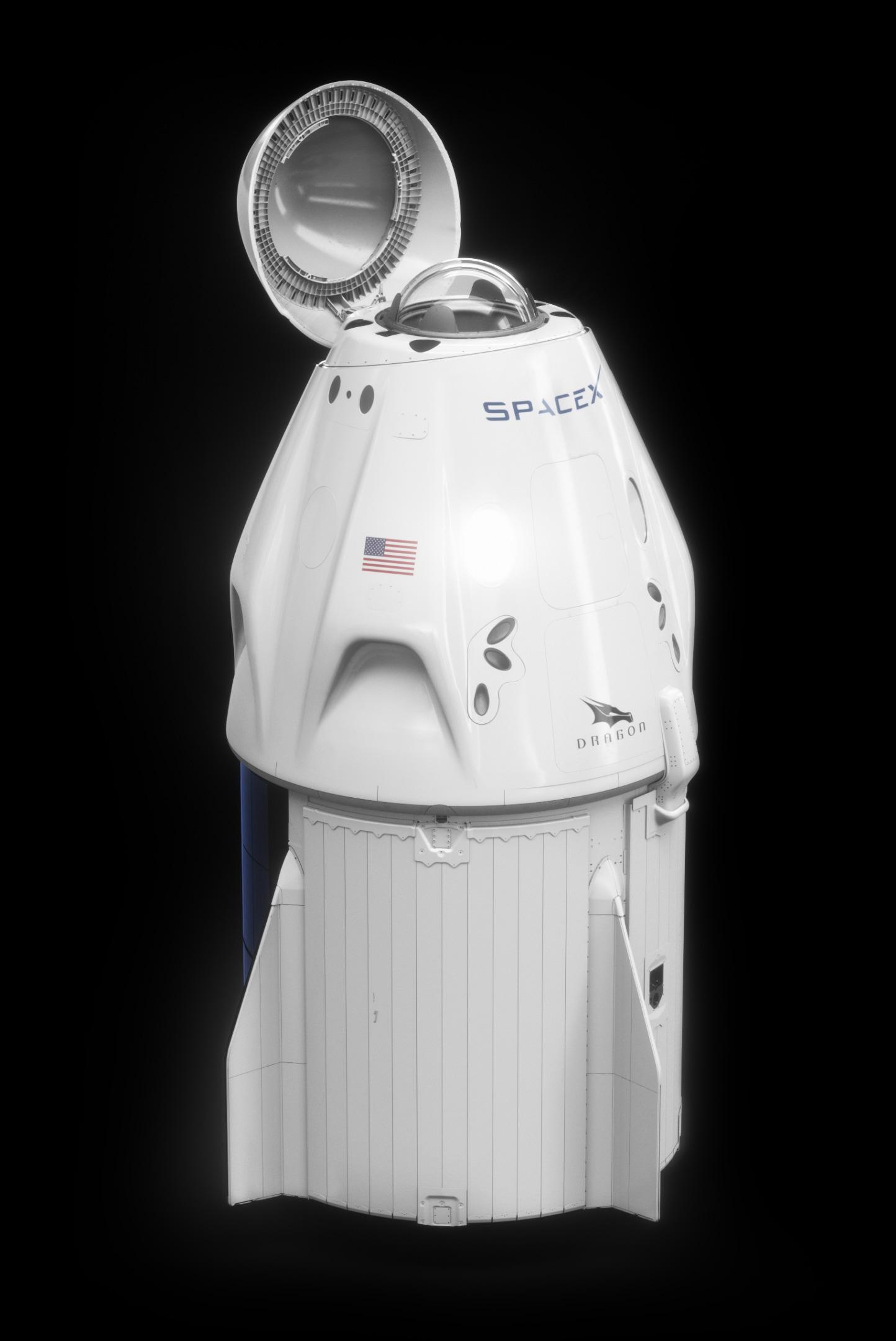 Phi thuyền Crew Dragon của SpaceX với lồng kính mới được lắp thêm ở trên đỉnh.